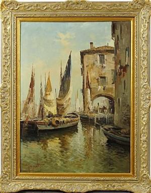 Italienskt Hamnmotiv by Ercole MAGROTTI