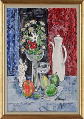 Stilleben Med Blommor I Vas Samt Frukter Och Föremål by Arthur PERCY