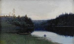 Insjölandskap I Aftonstämning - Motiv Från Fryksfors by Johan 'John' KINDBORG