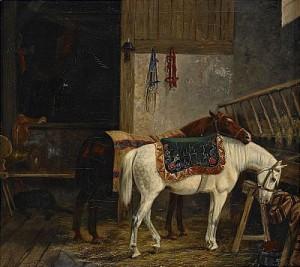 Stallinteriör by Arvid Fredrik LÖNNROTH