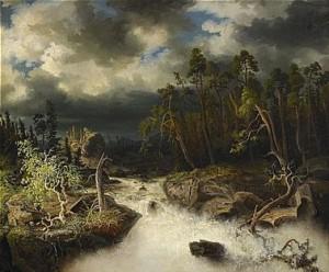 Skogslandskap Med Fors by Alfred WAHLBERG