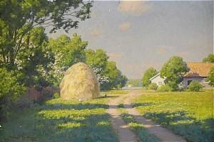 Sommarlandskap Med Höstack Och Gårdsidyl by Johan KROUTHÉN