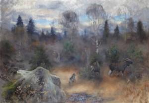 älgjakt Med Gråhund by Lindorm LILJEFORS