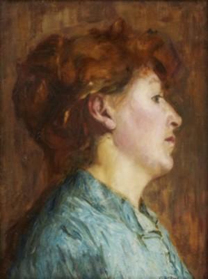 Porträtt Av Konstnärens Hustru, Sångerskan Ingrid Isaria Karola, Född Boklund (1861‑1940). by Oscar BJÖRCK