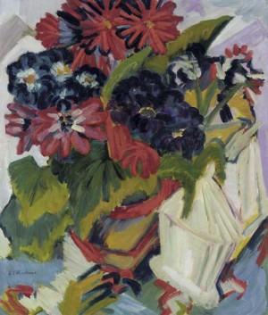 Blumentopf Und Zuckerdose; Blumen by Ernst Ludwig KIRCHNER