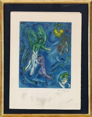 La Lutte De Jacob Et De L'ange by Marc CHAGALL