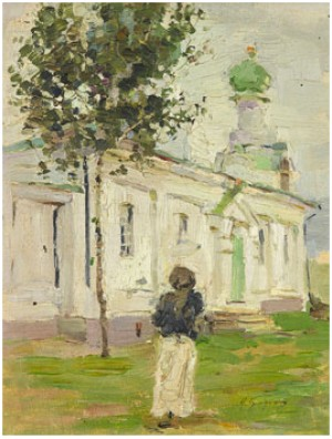 Outside The Church by Isaak Israelievich BRODSKY