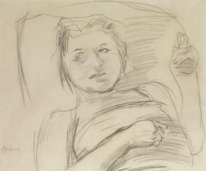 Mädchen Auf Einem Kissen Ruhend by Oskar KOKOSCHKA