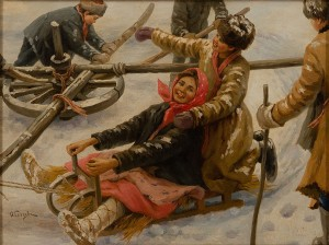 Children Playing With A Sleigh by Fedot Vasilievich SYCHKOV