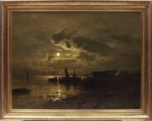 Fiskeläge I Månsken by Axel Wilhelm NORDGREN