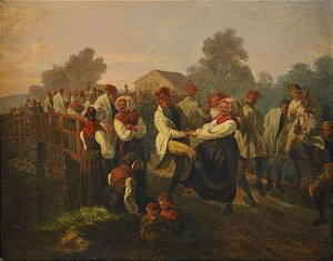 Frieridansen På Floda-bron (dalarne) by Josef Wilhelm WALLANDER