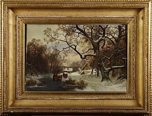 Vinterlandskap Med Figurer by Oscar TÖRNÅ