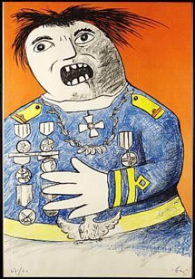 Komposition Med Militär Figur by Enrico BAJ