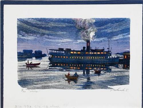 Den Gamla ångbåten, Mapp Innehåller 4 Litografier by Roland SVENSSON
