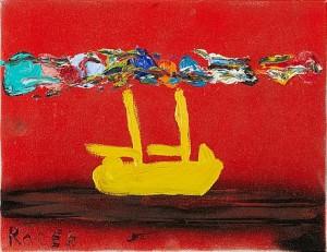 Gul Båt På Rött Hav by Roger RISBERG