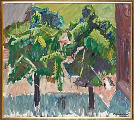 Träd Vid Husgavel by Alf LINDBERG