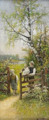 Sommarlandskap Med Barn Vid Grind by Severin NILSON
