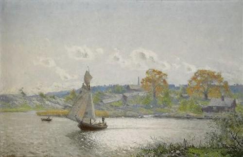 Solig Höstdag Vid Sjön by Olof ARBORELIUS