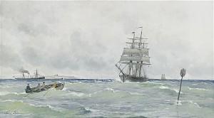 Kustmotiv Med Segelfartyg Och ångfartyg by Anna PALM DE ROSA