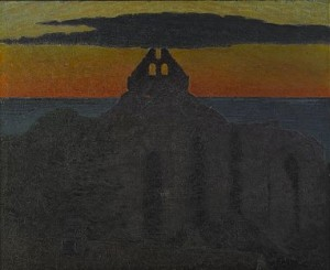 Solnedgång över S:t Nicolai Kyrkoruin - Visby by Pelle SWEDLUND