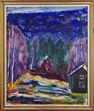Skoglandskap by Olle BÆRTLING