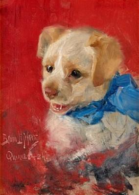 Hundvalp Med Blå Bandrosett by Bruno LILJEFORS