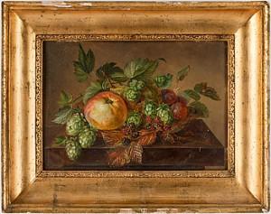 Stilleben Med äpple, Päron, Plommon, Björnbär Och Humle by Augusta PLAGEMANN