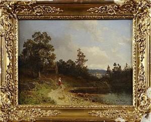 Kvinna I Landskap by Alfred WAHLBERG