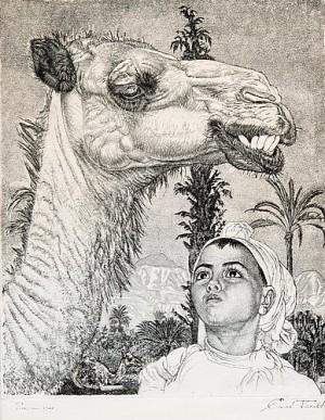 Berberi Tüdruk Kaameliga by Eduard WIIRALT