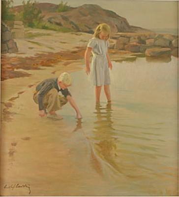 Lekande Barn I Vattenbryne by Gustaf CARLSTRÖM