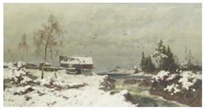 Vinterlandskap Med Lada Vid Fors by Axel Wilhelm NORDGREN
