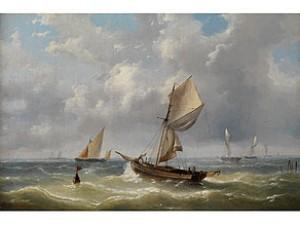 Segelschiffe Auf Bewegter See by Charles-Louis VERBOECKHOVEN