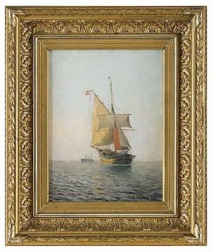Danskt Segelfartyg I öresund by Christian Fredrik SWENSSON