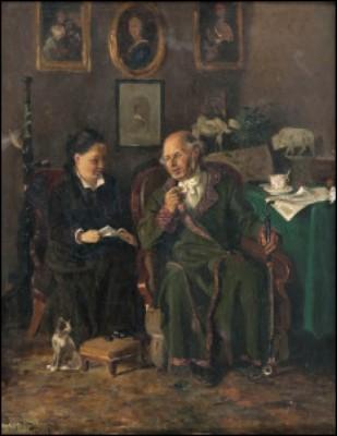 Grandfather And Grand-daughter by Konstantin Egorovich MAKOVSKY