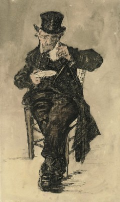 Orphan Man With A Top Hat Drinking A Cup Of Coffee by Vincent Van GOGH