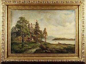 Insjölandskap by Lars Gustav KINMANSSON