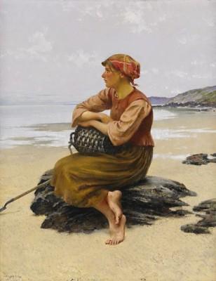 Sittande Ostronplockerska På Stranden. by August HAGBORG