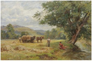 Hay Harvest On The Ryder, N. Wales by Frederick James KNOWLES
