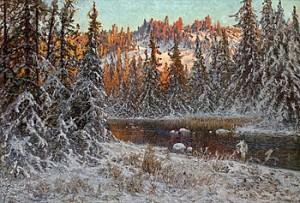 Decemberafton Vid En Skogstjärn, Dalarne by Anshelm SCHULTZBERG