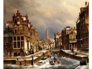 Blick Auf Eine Flämische Stadt Im Winter by Oene Romkes De JONGH