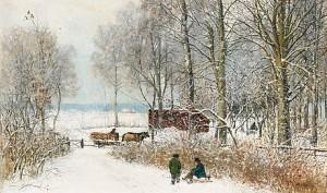 Vinterlandskap Med Kälkåkande Pojkar by Olof HERMELIN