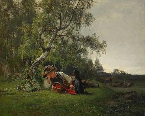 Pojke Med Hund I Landskap by Julius KRONBERG