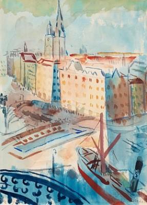 Utsikt Från Söder Mot Tyska Kyrkan Och Storkyrkan by Isaac GRÜNEWALD