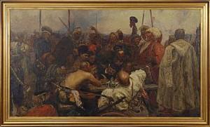 Kosackerna Skriver Ett Hånfullt Brev Till Sultanen, by Ilya Efimovich REPIN
