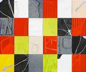 Untitled, Blandteknik På Fyra Pannåer, 25 X 122 Cm Vardera. by Susan WEIL