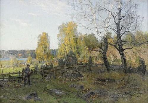 Björkar I Höstsol by Alfred BERGSTRÖM