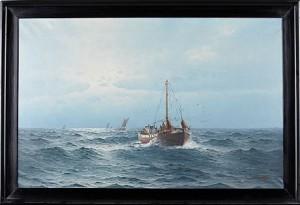 Marinmotiv Med Fiskebåtar by Johan Ossian 'J. Ossian' ANDERSSON