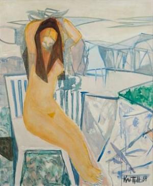 Kvinne På Hvit Stol by Kai FJELL