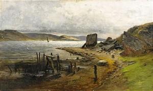 Kustlandskap Med Segelbåt by Olof HERMELIN