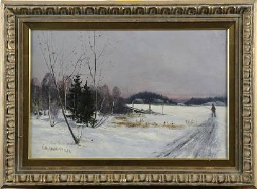 Vintermotiv Med Vandrare by Ivar NAUMANN